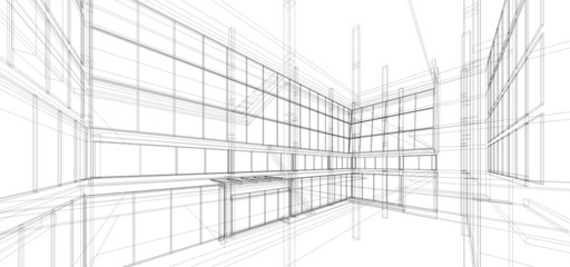 Abstract wireframe building
