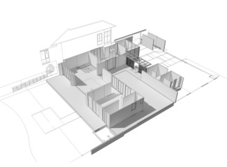 3d illustration of building design concept, architects computer