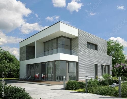 Einfamilienhaus neubau modern holz  Haus Kubus Holz grau