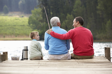 Printed kitchen splashbacks Fishing Father,son and grandfather fishing
