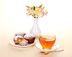 Tea with cupcakes for a breakfast