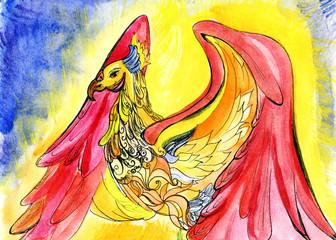 Phoenix, watercolor painting