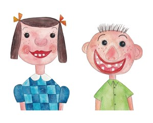 Boy and girl. Watercolors