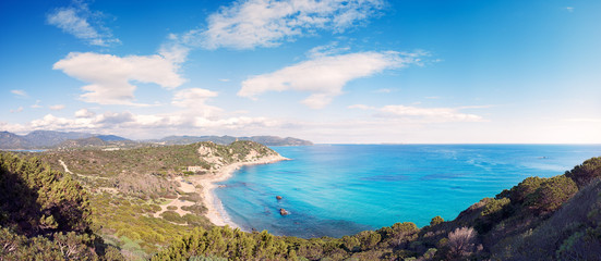 Panoramic view of the Mediterranean coast with crystal clear sea