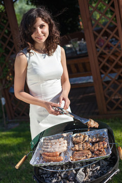 Young girl preparing food