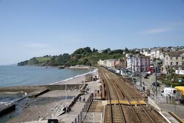 Coastal railway line at Dawlish Devon England UK