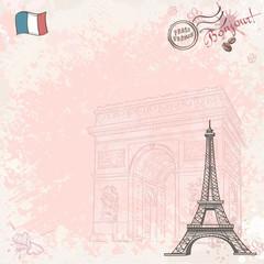 Background image on France with Eiffel tower