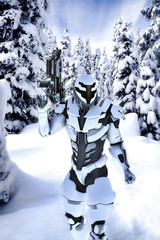 Wall Mural - Futuristic soldier in a wood with snow