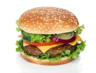 Fototapeta Tasty hamburger isolated on white background obraz