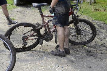 Dirty bike and biker