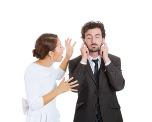 Arguing stressed couple man, woman. Annoyed guy tired of nagging