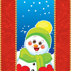 Snowman on background with patterns.