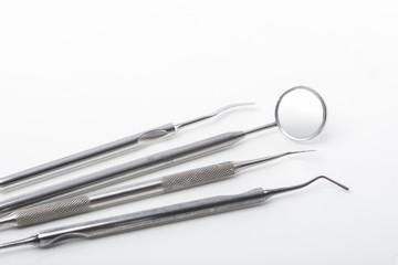 Set of Dental Tools on White Background