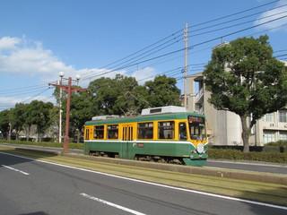 並木道を走る路面電車