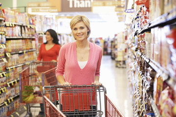 Women shopping in supermarket