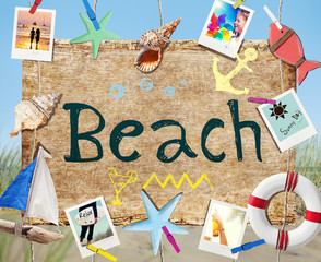 Hanging Beach Signboard with Summer Objects and Photos