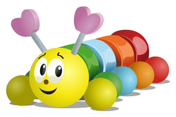Vector format of caterpillar toy on wheels