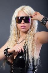 Sexy blonde in sunglasses