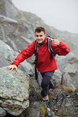 Teenage hiker on mountain