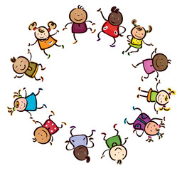 Vector happy children different races circle shape.