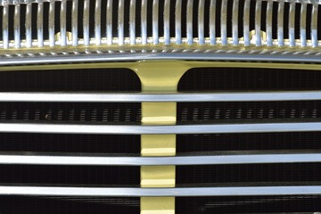 Close up of classic car radiator grill