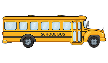 Vector Cartoon Yellow School Bus. Side View.