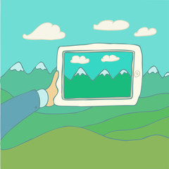 tablet computer (iPad) vector Illustration, hand drawing