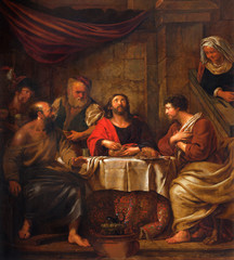 Fototapete - Mechelen - Jesus and disciple of Emausy at supper