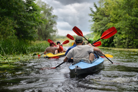 2014 Ukraine river Sula river rafting kayaking editorial photo