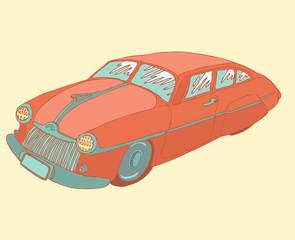retro car, vector illustration hand drawn