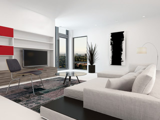 Modern living room interior with a large TV