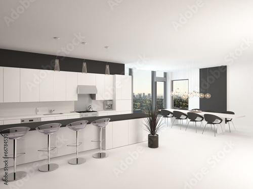 Modern open plan black and white kitchen stock photo and royalty free images on - Modern keukenplan ...