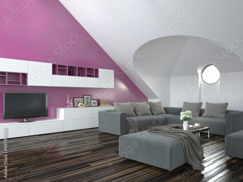 modernes wohnzimmer mit pinker wand und grauer couch stockfotos und lizenzfreie bilder auf. Black Bedroom Furniture Sets. Home Design Ideas