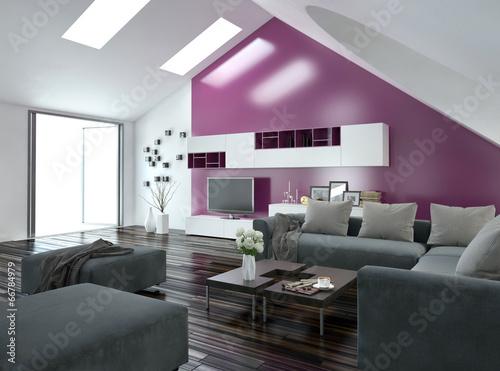 modernes wohnzimmer mit pinker wand und grauer couch stockfotos und lizenzfreie bilder auf. Black Bedroom Furniture Sets. Home Design Ideas