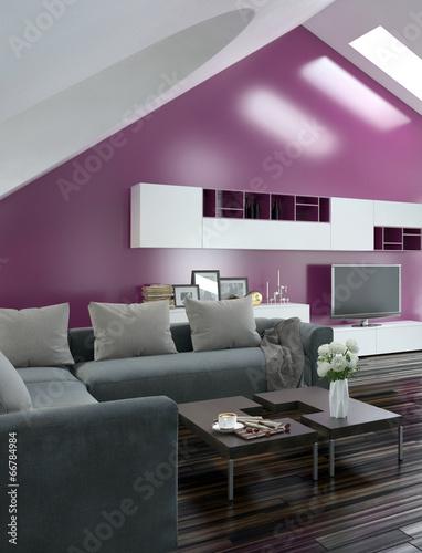 Modernes wohnzimmer mit pinker wand und grauer couch stock photo and