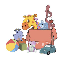 Box with toys cartoon