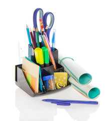 Office supply, scissors and exercise book