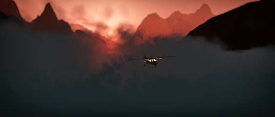 Printed roller blinds Gray traffic Airplane flying through rough mountain landscape at sunset.