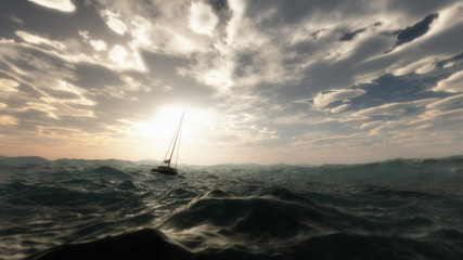 Lost sailing boat in wild stormy ocean. Cloudy sky. Wall mural