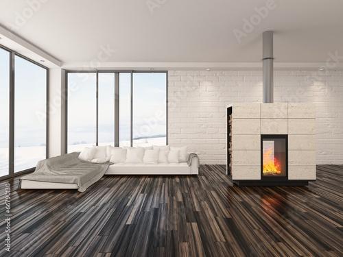 Moderne inneneinrichtung interior mit weißem sofa stock photo and