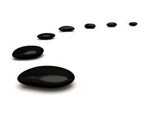 Black Stones on white floor