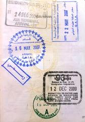 Jordan Singapore visa stamps in a European Union passport