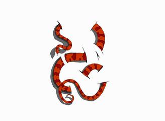 serpente 3D su sfondo bianco