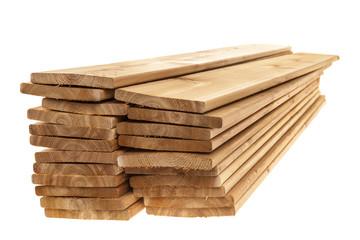 Wooden cedar boards piled