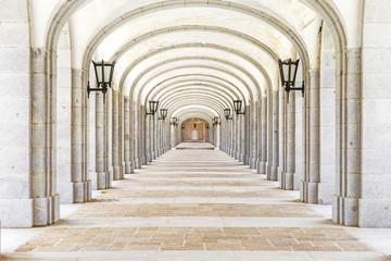 Covered corridor in Valley of the Fallen (Valle de los Caidos),
