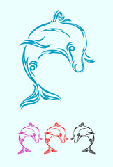 Dolphin art vector design.