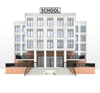 modern school building design front facade view