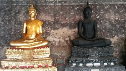 Two old buddha image in the temple.