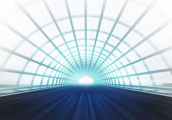 light cross arch construction tunnel along racetrack
