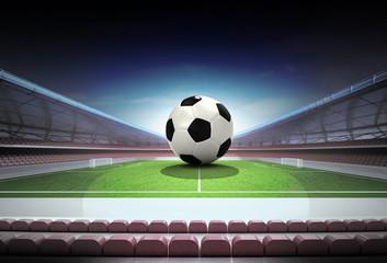 football ball in midfield of magic stadium own design